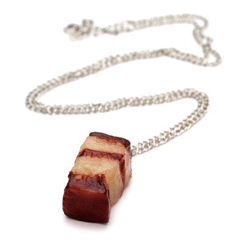 Ein Stückchen Speck Halskette - ca. 70cm lange Kette - Fleisch Anhänger Schwein Schinken - Schwein-anhänger-halskette