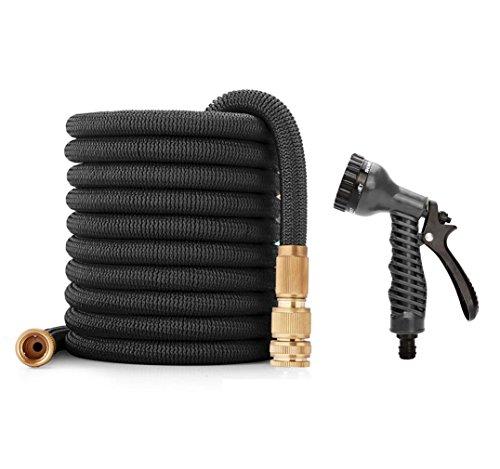 Flexibler Gartenschlauch mit Handbrause - Kupplung aus Messing - Doppelschicht Latexschlauch - Auslaufsichere Verbindung 15 Meter