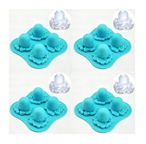 Oktopus-Eiswürfelschale, 4-Zellen DIY Octopus Geformte Eiswürfelschalenform, Silikon Eiswürfel Party Maker Perfekt Für DIY Gefrorenes Eis, Pudding, Gelee Bonbons, Blau, 4 Packung (Kunststoff-octopus Schimmel)