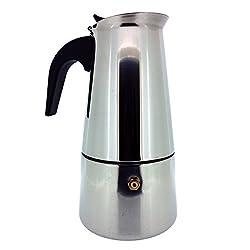 Italienischer Espressokocher für den Herd, Mokka Kaffeekanne - Hochwertige Polierte Edelstahl Kaffeemaschine mit einem Dauerfilter und Hitzebeständigem Griff