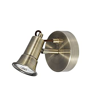 Single Antique Brass Traditional Style Wall Spotlight Fitting / Lighting