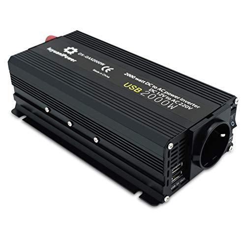 XMAGG 2000W Wechselrichter, leistungsstark DC 12V bis 230V AC Auto Power Inverter für Auto mit USB, Direktanschluss an Autobatterie, Zigarettenanzünder Stecker