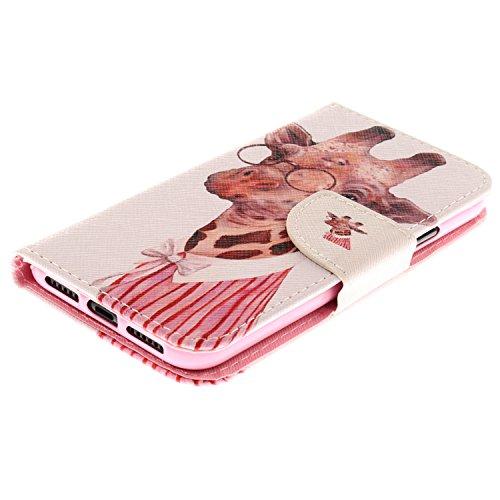 Linvei Apple iPhone X Coque,iPhone 10 Coque,[Conception de motif coloré][PU Cuir Housse][Portefeuille Flip][Stand Soutien/Card Slot /Fermeture Magnétique] - Couleur Loup Girafe