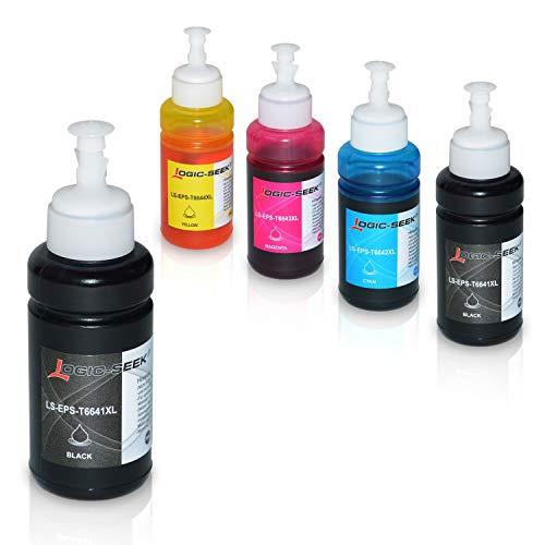 5 Tinten für Epson EcoTank L300 L350 L355 L365 L455 L550 L555 L565 L655 L100 L200 ET2550 ET2500 ET4500 ET4550 T6641 T6642 T6643 T6644, je 70ml -