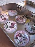 """Küchenmagnete Vintage Alice im Wunderland Rosen Kaffeekanne Magnete 6er Set""""Alice"""", Cabochon-Durchmesser 2,5 cm, Metallbox Maße 94 x 59 x 20 mm, Geschenkidee für Frauen"""