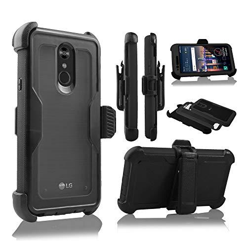 Schutzhülle für LG Stylo 4, Stylus 4, LG Q Stylo 4 (Q710) 2018 (Metro PCS, T-Mobile, Cricket etc.), mit Gürtelclip und integriertem Displayschutz, schwarz Silicon Case Screen Guard