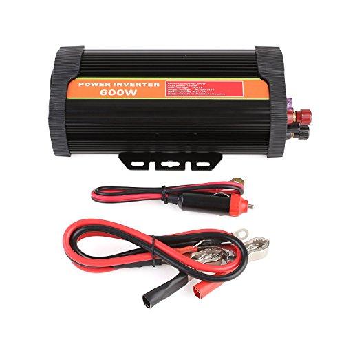 MVPOWER 600W Auto Spannungswandler Wechselrichter 12V auf 220V Power Inverter mit Zigarettenanzünder Stecker und 2 USB Anschlüsse (600W, 12-220V)