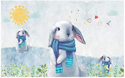 YWYWYWYW Nahtlose 3D Großes Wandbild Tapeten Nordic Modernen Minimalistischen Imitation Hand - Der Niedliche Hase Kinder Zimmer Hintergrund Bemalte Wand,40Cm(H)×60Cm(W)