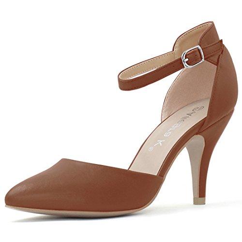 Allegra K Damen Spitzkopf-Schuhe Stöckelabsatz hohe Absätze Knöchel-Gurt Pumps, Braun/EU 37.5