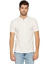 Globus Cotton Solid White Polo Tee with Zipper
