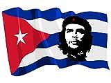 Etaia 10x15 cm - Auto Aufkleber Che Guevara roter Stern Revolution auf Kuba Cuba Fahne Flagge wehend Sticker Motorrad