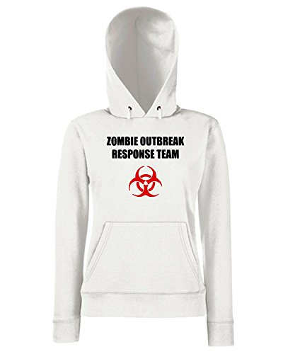 T-Shirtshock - Sweats a capuche Femme TZOM0016 zombie outbreak response team light Blanc