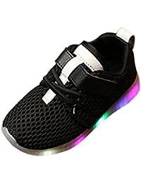 Bebé Malla transpirable Velcro zapatillas con LED luces ,Yannerr recien nacido niño niña entrenadores luminoso colorido ligeros deportivos Running llevó antideslizante zapatos botas
