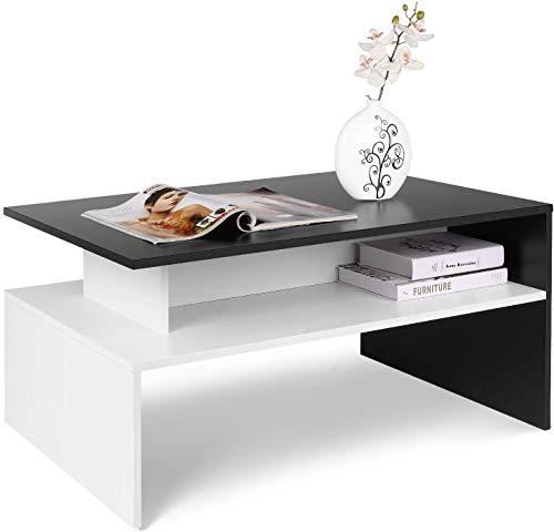 Homfa Table Basse de Salon Design Table de Salon en Bois Moderne avec Rangement 90x50x43cm (Noir et Blanche)