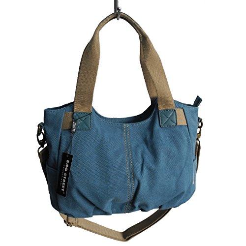 Lässige Canvas Tasche von Jennifer Jones - Damentasche , Shopper , Umhängetasche , Vintage Handtasche , Schultertasche - Baumwollstoff Segelstoff ( Blau ) - präsentiert von ZMOKA®