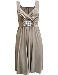 New Womens Plus Size Buckle Gürtel Tie Zurück knielangen Abend Kleid