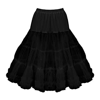 "Black Butterfly Clothing 27"" Long Full Net 50'S - 60'S Prom Petticoat Skirt Slip (16-22, Black)"
