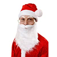 Glossy Look SANTA WHITE BEARD WITH MOUSTACHE & FATHER CHRISTMAS HAT PARTY FANCY DRESS COSTME