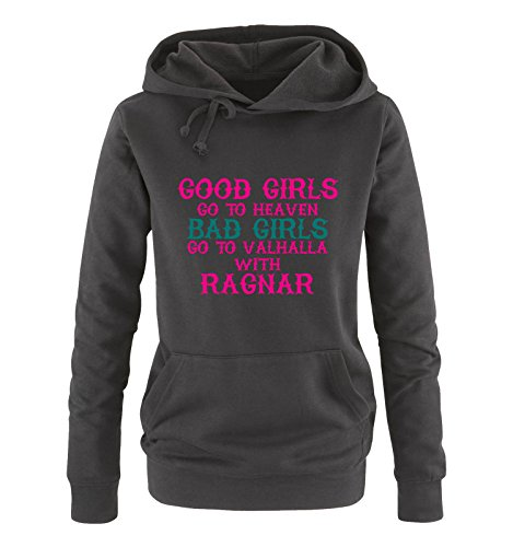 Comedy Shirts - Good girls go to heaven bad girls go to valhalla - Damen Hoodie - Schwarz / Pink-Türkis Gr. XXL (Hoodie Australien)