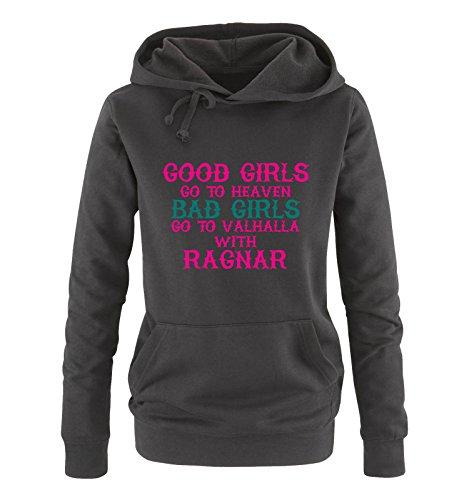 Comedy Shirts - Good girls go to heaven bad girls go to valhalla - Damen Hoodie - Schwarz / Pink-Türkis Gr. XXL (Hoodie Australien)