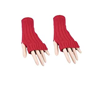 Pair of RED Short Ribbed Knit Fingerless Gloves / Wrist Warmers