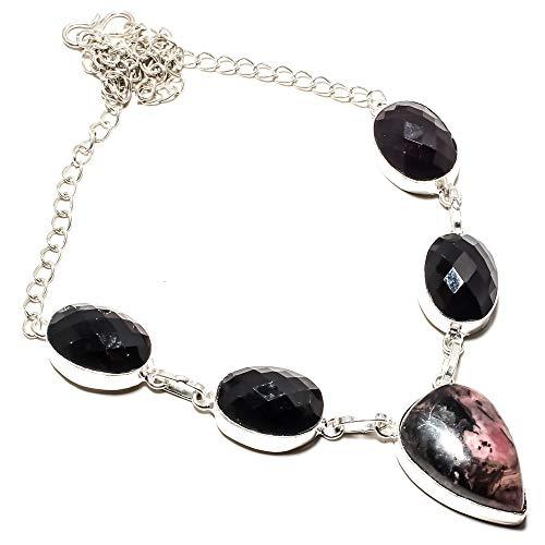 jewels paradise Collar de Plata de Ley 925 Chapado en Plata de Ley 925 con Piedras Preciosas de ónix Negro y rodonita (SF-1430)