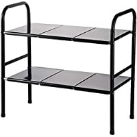 COVAODQ Étagère de rangement en métal extensible à 2 niveaux pour cuisine salle de bain - Accessoires de cuisine - Noir