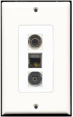 RiteAV–1Port geschirmt, Cat. 6Ethernet und 1Port Toslink und 1Port 3,5mm Decora Wall Plate Decora