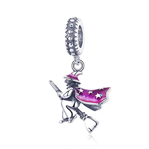 r Anhänger aus 100% 925er Sterlingsilber, Motiv: Hexe, passend für Damen-Armbänder, DIY Schmuck, Halloween-Geschenk ()