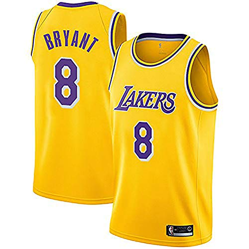 (WYUTIAO Lakers Kobe Bryant # 8 Jersey - Klassisches ärmelloses Set, Los Angeles, NBA-Trikot, Basketball für Herren und Unisex-Korbanzug-T-Shirt-Yellow-XXL)