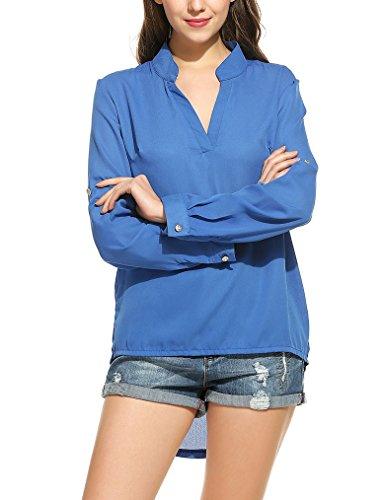 OURS Damen Sommer V-Ausschnitt Rüschen Chiffon Langarm Bluse Lose Oberteile T-Shirt Langarmshirt Blau