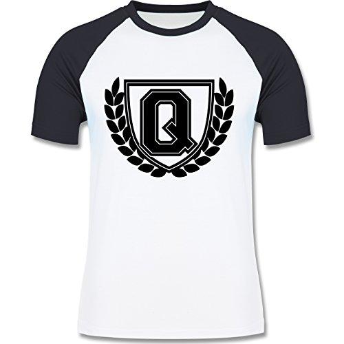 Anfangsbuchstaben - Q Collegestyle - zweifarbiges Baseballshirt für Männer Weiß/Navy Blau