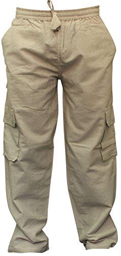 SHOPOHOLIC FASHION Mens Plain Hemp Hippie Combat Trousers