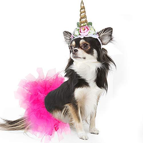 Weihnachtsgeschenke, Haustierkostüm, Einhorn, Stirnband und Tutu-Rock für Hunde -