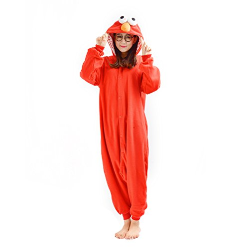 CuteOn Adulto Unisex Uomini Donne Animale Onesies Kigurumi Pigiama Biancheria da Notte indumenti da Notte Costumi Tuta con Cappuccio Rosso Sesame Street Small