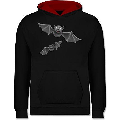 Shirtracer Tiermotive Kind - süße Fledermäuse - 7-8 Jahre (128) - Schwarz/Rot - JH003K - Kinder Kontrast Hoodie