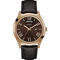 Guess Herren-Armbanduhr Analog Quarz Leder W0792G3
