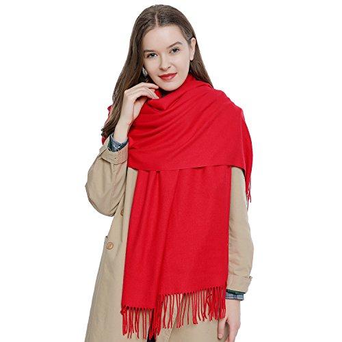 Damen Schal einfarbig weich 185 x 65 cm rot
