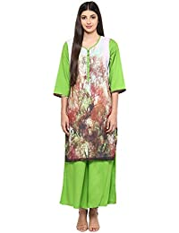 Ayaany Women's Polyester Green Ethnic Motifs Plazzo Set |Motifs And Plazzo For Women Daily Wear In Small , Medium...