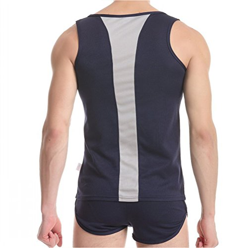Zhuhaitf Männermode 2-piece Sets Mens Summer Soft Vest + Boxer Shorts Underpants Underwear Blue