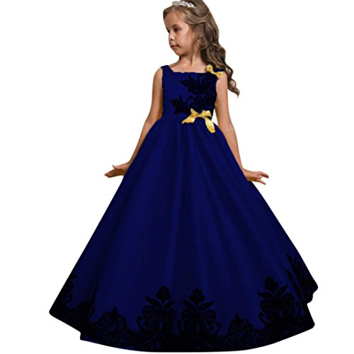 (Kobay Blumenmädchen Prinzessin Kleid Kid Party Hochzeit Pageant Formal Tutu Kleider Kleidung (160/9Jahr, Blau))