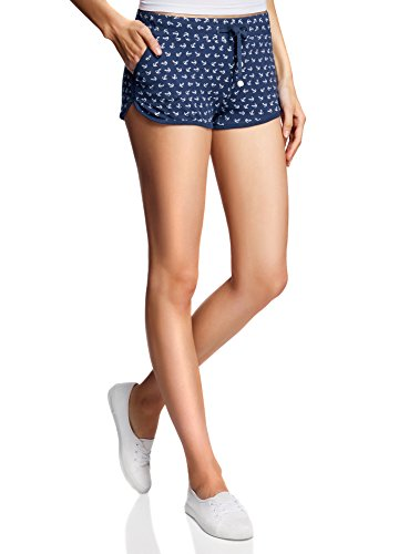 oodji Ultra Damen Jersey-Shorts mit Marine-Druck, Blau, DE 38 / EU 40 / M (Drucken Marine-blau-jersey)