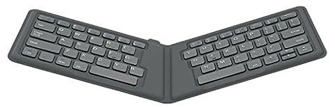 MoKo Ultra Kompakt Drahtlose Wireless Bluetooth Tastatur, Portable Qwerty-Layout Keyboard für Apple iPad Mini 4/iPad Pro/iPhone 6s/6s Plus,iPad, iPhone, iOS(Mac), Android und Windows Tablets, Grau