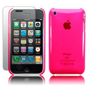 IPHONE 3G 3GS SUPER SLIM FIT SHIELD CASE FLUORESCENT PINK WITH SCREEN PROTECTOR PART OF THE QUBITS ACCESSORIES RANGE