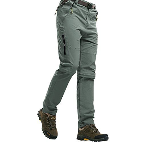 Flat Front Stretch-leggings (Walk-Leader Herren Outdoor-Hose zum Klettern, Wandern, schnell trocknend, untere Beinteile abnehmbar Gr. XXL, hellgrau)