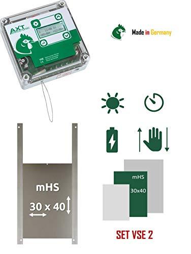 AXT-Electronic Set VSE 2 - Automatische Hühnerklappe VSE mit Batterien, integrierter Zeitschaltuhr, Ententür MHS