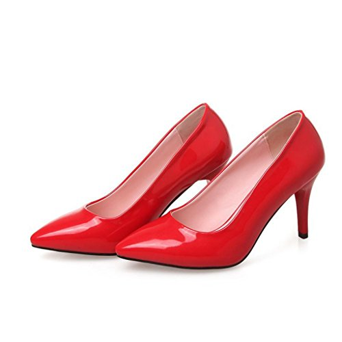 W&LMScarpe Tacchi alti appuntito Bocca poco profonda Scarpe singole Basso per aiutare le scarpe Scarpe da donna posto di lavoro Sala da ballo Red