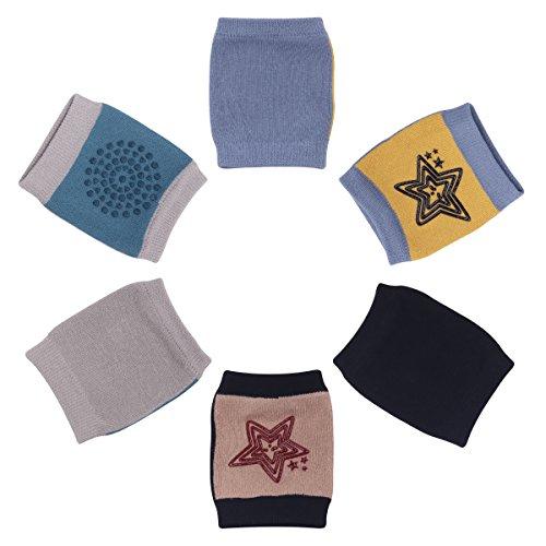 Camilife 3er Pack Baby Junge Krabbeln Knieschoner Anti-Rutsch Baumwolle Gestrickt Knieschützer mit Gummipunkte 3-36 Monate (Set C)