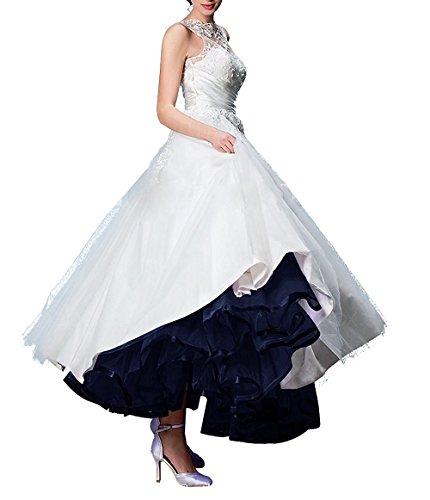 Izanoy Lange Petticoat Vintage Retro Reifrock Unterrock für Hochzeitskleid Marineblau