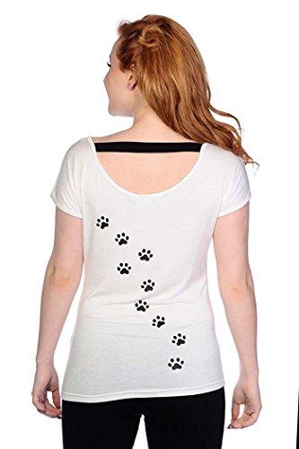 Banned CAT FACE Katzenpfötchen Blue Eyes T-Shirt - Weiß Rockabilly Weiß mit buntem Print